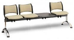 Čalouněná lavice do čekáren Smart Biedrax LC9221Z - podnož chromovaná