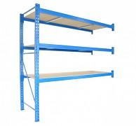 Profesionální Regál BIEDRAX přídavný 100 x 200 x 400 cm, 3 police - nosnost 350 kg/police, modrý