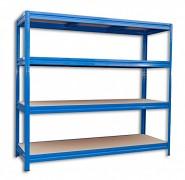 kovový regál Biedrax 60 x 240 x 180 cm, 4 police - modrý, nosnost 200 kg na polici
