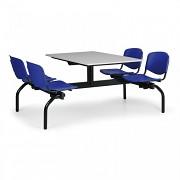 stoly do školní jídelny Biedrax JS3834S - modrá plastová sedadla, deska šedá