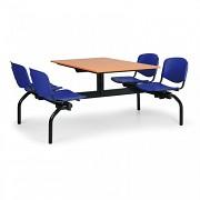 stoly do školní jídelny Biedrax JS3834T - modrá plastová sedadla, deska třešeň