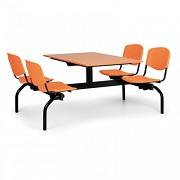 stoly do školní jídelny Biedrax JS3840T - oranžová plastová sedadla, deska třešeň