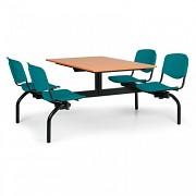 stoly do školní jídelny Biedrax JS3843T - zelená plastová sedadla, deska třešeň