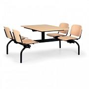 stoly do školní jídelny Biedrax JS3850 - sedadla a opěráky z lakované bukové překližky