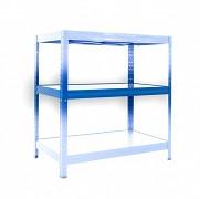 police k regálu kompletní - regál kovový, 35 x 75 cm - modrý, 120 kg na polici