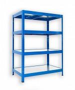 kovový regál Biedrax 35 x 75 x 90 cm - 4 police kovové x 120 kg, modrý