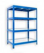 kovový regál Biedrax 45 x 90 x 90 cm - 4 police kovové x 120 kg, modrý