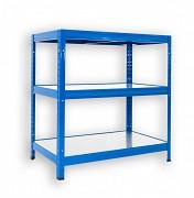 kovový regál Biedrax 60 x 75 x 120 cm - 3 police kovové x 120 kg, modrý