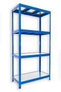 kovový regál Biedrax 50 x 90 x 180 cm - 4 police kovové x 120 kg, modrý