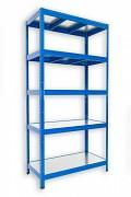 kovový regál Biedrax 35 x 120 x 180 cm - 5 polic kovových x 120 kg, modrý