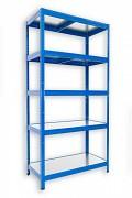 kovový regál Biedrax 45 x 75 x 180 cm - 5 polic kovových x 120 kg, modrý