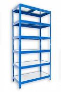 kovový regál Biedrax 45 x 60 x 180 cm - 6 polic kovových x 120 kg, modrý