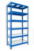 kovový regál Biedrax 45 x 90 x 180 cm - 6 polic kovových x 120 kg, modrý