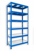 kovový regál Biedrax 45 x 120 x 180 cm - 6 polic kovových x 120 kg, modrý
