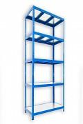 kovový regál Biedrax 35 x 120 x 210 cm - 5 polic kovových x 120 kg, modrý