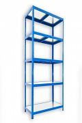 kovový regál Biedrax 45 x 75 x 210 cm - 5 polic kovových x 120 kg, modrý