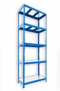 kovový regál Biedrax 45 x 120 x 210 cm - 5 polic kovových x 120 kg, modrý