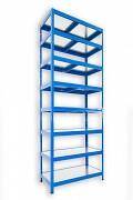 kovový regál Biedrax 45 x 75 x 210 cm - 8 polic kovových x 120 kg, modrý