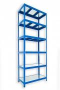 kovový regál Biedrax 45 x 120 x 240 cm - 6 polic kovových x 120 kg, modrý