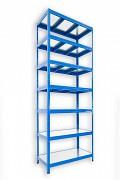 kovový regál Biedrax 45 x 120 x 240 cm - 7 polic kovových x 120 kg, modrý