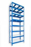 kovový regál Biedrax 50 x 120 x 240 cm - 8 polic kovových x 120 kg, modrý