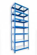 kovový regál Biedrax 45 x 75 x 270 cm - 7 polic kovových x 120 kg, modrý