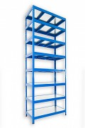 kovový regál Biedrax 50 x 120 x 270 cm - 8 polic kovových x 120 kg, modrý