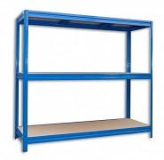kovový regál Biedrax 60 x 240 x 180 cm, 3 police - modrý, nosnost 200 kg na polici