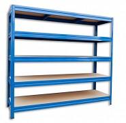 kovový regál Biedrax 60 x 240 x 180 cm, 5 polic - modrý, nosnost 200 kg na polici