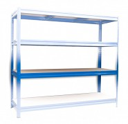 police k regálu kompletní - regál kovový, 60 x 200 cm - modrý, 200 kg na polici