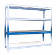 police k regálu kompletní - regál kovový, 60 x 240 cm - modrý, 200 kg na polici