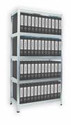 Regál na šanony Biedrax 35 x 75 x 180 cm - 5 polic x 175 kg, pozinkovaný, bílé police lamino