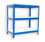 kovový regál Biedrax 45 x 90 x 90 cm - 3 police lamino x 275 kg, modrý