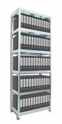 Regál na šanony Biedrax 60 x 60 x 210 cm - 6 polic x 175 kg, pozinkovaný, bílé police lamino