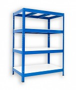 kovový regál Biedrax 45 x 90 x 90 cm - 4 police lamino x 275 kg, modrý