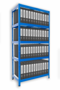Regál na šanony Biedrax 35 x 120 x 180 cm - 5 polic lamino x 175 kg, modrý