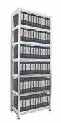 Regál na šanony Biedrax 45 x 75 x 270 cm - 7 polic x 175 kg, pozinkovaný, bílé police lamino
