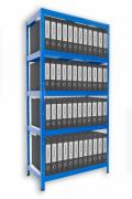 Regál na šanony Biedrax 35 x 75 x 180 cm - 5 polic kovových x 120 kg, modrý