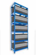 Regál na šanony Biedrax 35 x 75 x 210 cm - 6 polic kovových x 120 kg, modrý