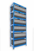 Regál na šanony Biedrax 35 x 75 x 270 cm - 7 polic kovových x 120 kg, modrý