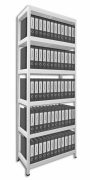 Regál na šanony Biedrax 35 x 75 x 210 cm - 6 polic kovových x 120 kg, bílý
