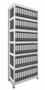 Regál na šanony Biedrax 45 x 90 x 270 cm - 7 polic kovových x 120 kg, bílý