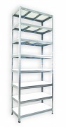 Pozinkovaný regál Biedrax 50 x 120 x 270 cm - 8 polic x 175 kg, bílé police lamino