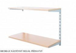 Nástěnný regál přídavný 20 x 80 x 50 cm, 2 police - barva stříbrná, police buk