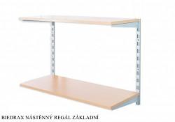 Nástěnný regál základní 25 x 40 x 50 cm, 2 police - barva stříbrná, police buk