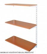Nástěnný regál přídavný 50 x 40 x 100 cm, 3 police - barva bílá, police třešeň