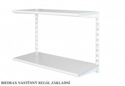 Nástěnný regál základní 20 x 80 x 50 cm, 2 police - barva bílá, police šedá