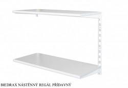Nástěnný regál přídavný 40 x 80 x 50 cm, 2 police - barva bílá, police šedá