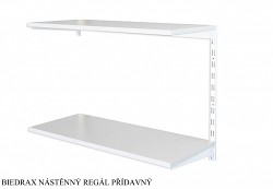 Nástěnný regál přídavný 50 x 80 x 50 cm, 2 police - barva bílá, police šedá