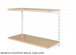 Nástěnný regál základní 20 x 80 x 50 cm, 2 police - barva bílá, police buk
